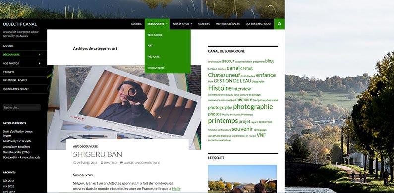 capture d'écran du blog Objectif canal