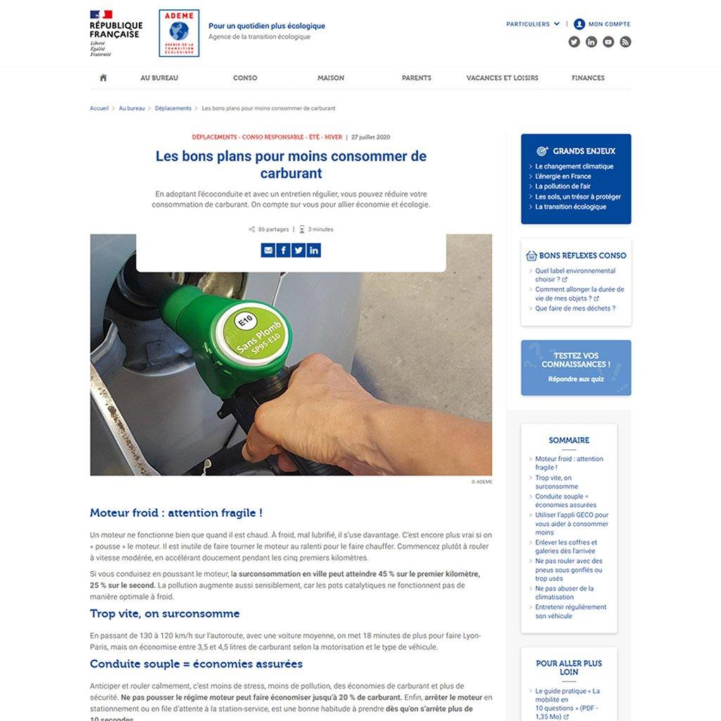 Capture d'écran du site internet de l'Ademe pour les particuliers