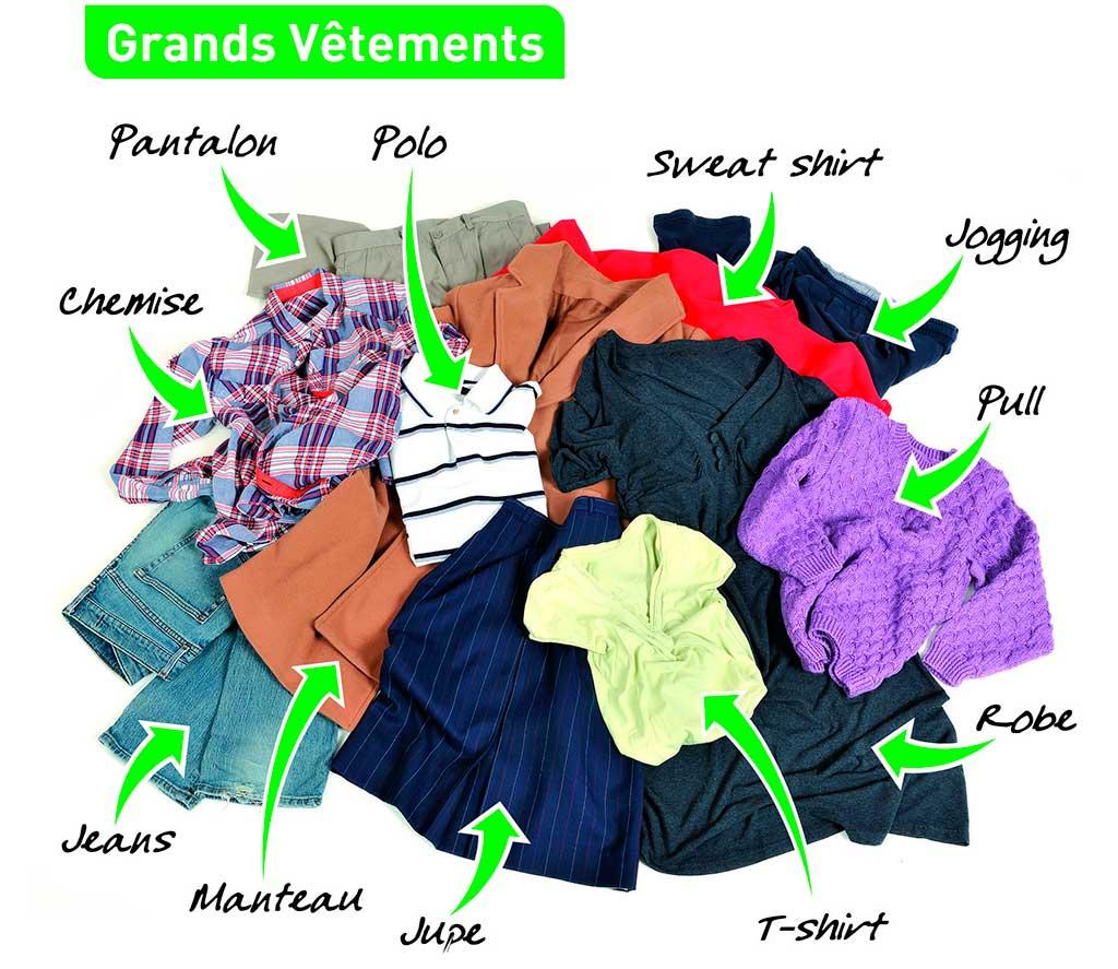 Tri des grands vêtements : pantalons, pulls, robes, sweats, chemises, etc.