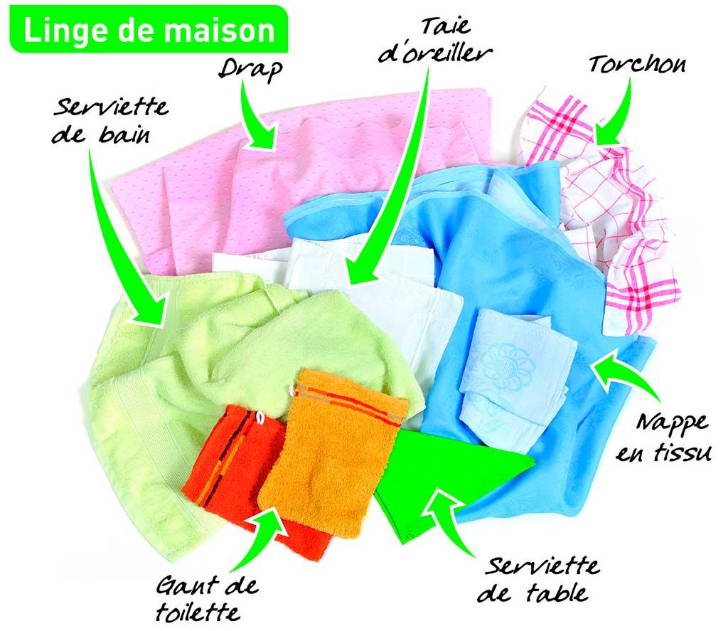 Tri du linge de maison : serviettes de bains, gants de toilette, draps, taies d'oreillers, torchon, nappes, servieetes de tables, etc.