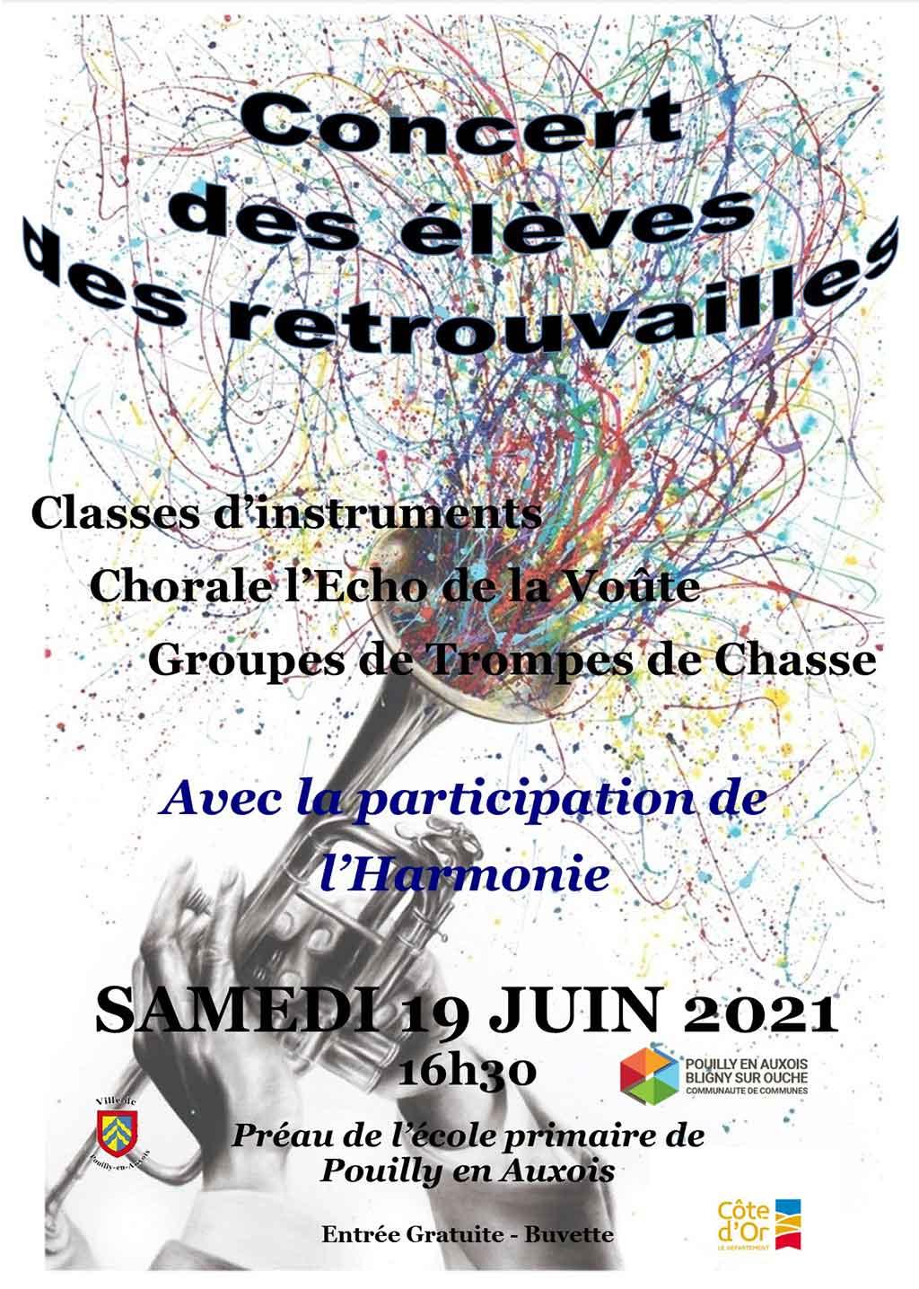 Affiche du concert des élèves cde l'école de musique de Pouilly le 19 juin 2021