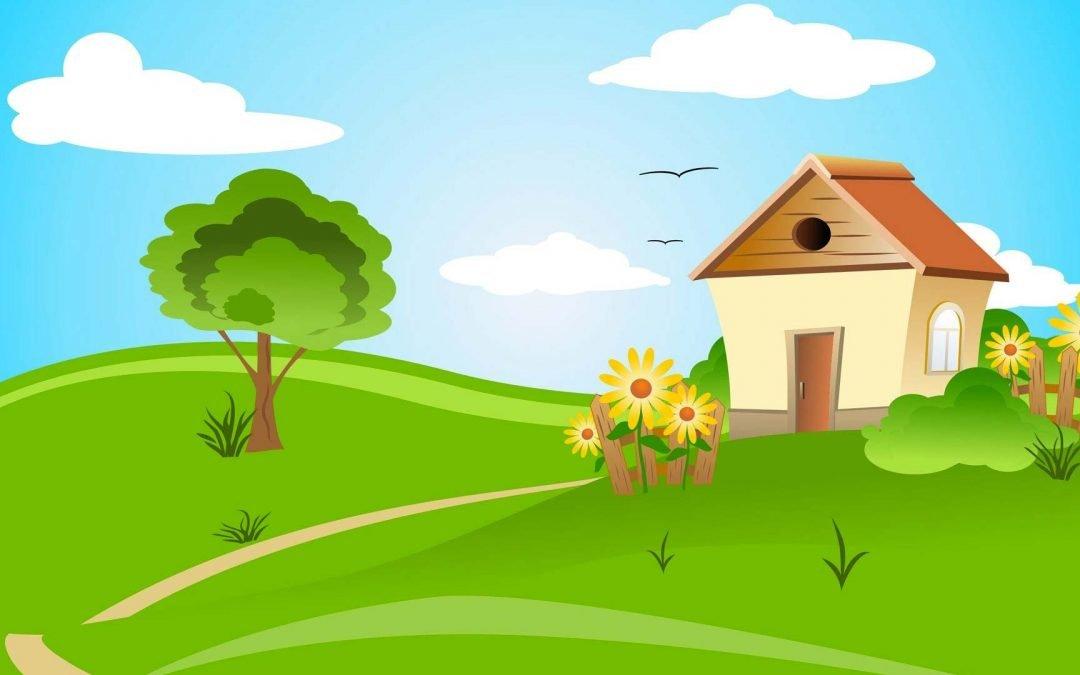 Illustration d'une maison dans un paysage de campagne